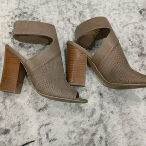 Call it spring taupe colored open toe chunk heel